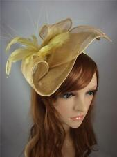 Gold Leaf Sinamay Fascinator with Feather Flower - Hat Occasion Wedding Races
