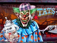 ART PRINT POSTER PHOTO GRAFFITI MURAL STREET ZOMBIE CLOWN NOFL0366
