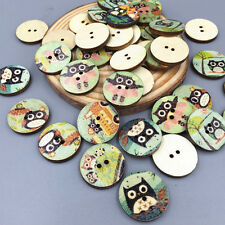 "50PCS Retro Owl Wooden Buttons Sewing Scrapbooking Kids wood Crafts 0.79 ""(20mm)"