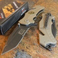 MTECH Tan G10 Spring Assisted Open SKULL Tactical Rescue Folding Pocket Knife