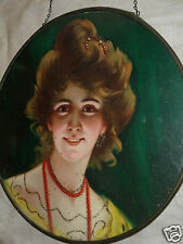 ANTIQUE FLUE COVER EVENING LADY PORTRAIRT w/ GLITTER CHROMO PRINT VICTORIAN