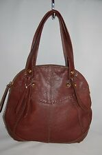 LUCKY BRAND Cow Hide Leather Red Wine Shoulder Bag Purse