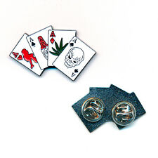 Four Aces quatre ASSE rockabilly gothique drogues skull Button pin badge 0185