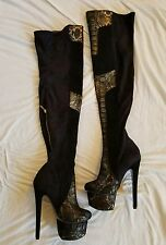 London Trash Winona Suede Snakeskin sz 6 Black Thigh High Heel Platform Boots