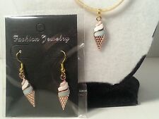Handmade Gold Tone & Pink Ice Cream Cone Earrings & Satin Necklace Set- Jewelry