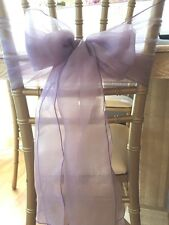 Lot Of {5} Pieces Wedding Chair Cover Pew Bow Wrap Organza Lavender Sash Ribbons