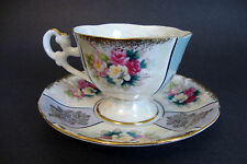 LM Royal Halsey Footed Feet Tea Cup & Saucer Colorful Flowers/Gilt/Iridescent