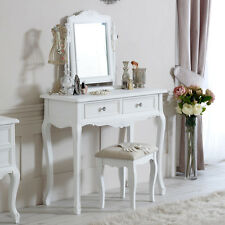 White dressing table mirror stool shabby ornate chic French bedroom furniture