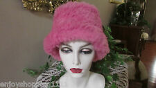 MEMAR PINK SHEARED RABBIT WOOL LINED HAT=NWOT-GORGEOUS-ITALY