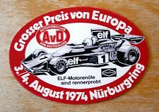 1974 European Grand Prix Nurburgring Formula 1 Motorsport Sticker Decal
