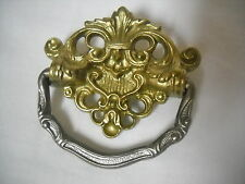 ANTIQUE SINGLE POLE CAST BRASS DRAWER PULL SEWING CABINET