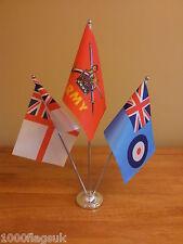 British Army Navy RAF Royal Airforce Table Desk Flag Set - Satin & Chrome