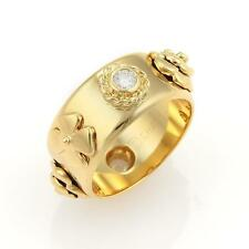 Chanel Camélia Diamonds Floral 18k Yellow Gold Band Ring - Size 6.5