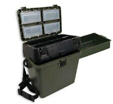 GREEN FISHING TACKLE SEAT BOX WITH CARRY STRAP + SIDE TRAY CARP SEA BOAT FISHING