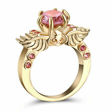 Size 9 Gold plated Round Pink Topaz Wedding Engagement Ring Christmas Gift Wife