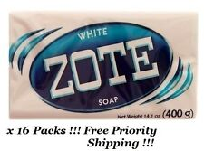 16 Pack ZOTE White Laundry Clothes Hand Delicate Wash Soap For Stain 14oz (400g)