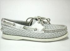 SPERRY TOP-SIDER Womens Shoes Gray Silver Woven Leather US 6 M UK 4 EUR 36