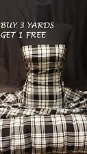 Genuine Black White Menzies Tartan Woven Polyester Viscose Dress Fabric Material