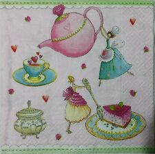 FAIRIES TEA PARTY PINK 2 single LUNCH SIZE paper napkins for decoupage 3-ply