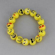 emoji bracelet beaded emoji beads yellow smiley face stretch stretchy bracelet