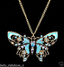 Retro Hollow Rhinestone Crystal Butterfly Sweater Long Chain Pendant Necklace