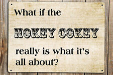 WHAT IF THE HOKEY COKEY REALLY IS WHAT IT'S ALL ABOUT METAL WALL PLAQUE SIGN A5