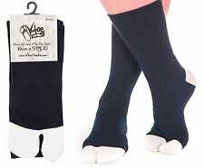 V-Toe Athletic Tabi Flip Flop Socks - Blue and White Crew - 1 Pair