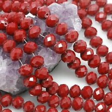 36 pcs 10mm Chinese Crystal Glass Beads Faceted Rondelle Ruby Red Agate