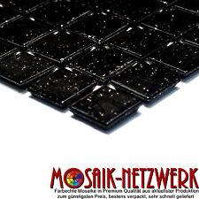 Mosaik schwarz black mit Spots Glasmosaik Fliese Bad Dusche Art:50-0302_b 1Bogen
