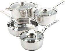 7 Piece Stainless Steel Cookware Set Non Stick Cooking Pots and Pans Kitchen