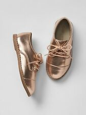 GAP Baby / Toddler Girls NWT Size 6 Rose Gold Metallic Lace-up Oxfords / Shoes