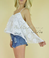 White Overlay LACE Flowy Bohemian TRAPEZE Layered Sleeveless Cami Tank Top L