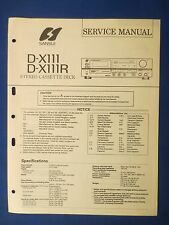 SANSUI D-X111 R CASSETTE SERVICE MANUAL ORIGINAL FACTORY ISSUE THE REAL THING