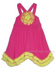New Girls Boutique Sam & Sydney sz 7 Fuchsia Lime Rosette Dress Summer Clothes