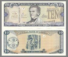 Liberia P27b, $10, 1st President Joseph Jenkin / tapping rubber trees UNC