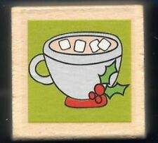 COCOA CUP HOLLY Marshmallows Winter Stencil Holiday Gift Tag NEW RUBBER STAMP