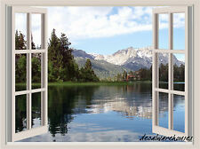 Lake & Mountains Window View Repositionable Color Wall Sticker Wall Mural  3 FT