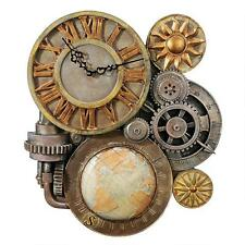 Steampunk Industrial Multi Gear Globe Mechanically Inclined Timepiece Wall Clock