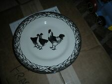"""CARLY DODSLEY ROYAL STAFFORD BLACK CREAM CHICKEN ROOSTER HEN 8 1/2"""" SALAD PLATE"""