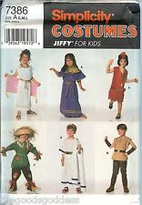 Simplicity 7386 Jiffy Toga Flapper Scarecrow CHILD Costume Pattern UNCUT FF
