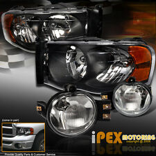 2002-2005 Dodge RAM 1500/2500/3500 Black Headlights + Clear Lens Fog Lights Kit
