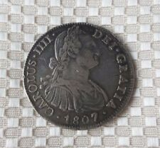 Awesome Piece of Eight - Mexico Charles IIII Bust 8 Reales 1807 Mo-TH. KM-109 AU