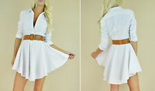White FLARED SKIRT Fit  Flare Long Sleeve Peplum Button Up Sexy Shirt Dress S