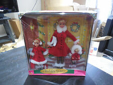 NEW Barbie Holiday Sisters Gift Set Barbie Stacie Kelly 1999 Red Velvet Dress