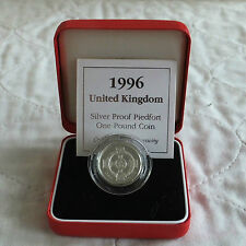 UK 1996 PIEDFORT NORTHERN IRISH DESIGN £1 SILVER PROOF - boxed/coa
