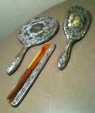 VINTAGE 3 PIECE SILVER PLATED DRESSER VANITY SET, MIRROR COMB AND BRUSH