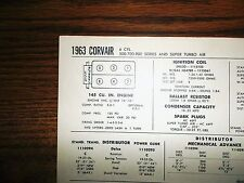 1963 Chevrolet Corvair SIX Series Models 145 CI 4 Cylinder Tune Up Chart