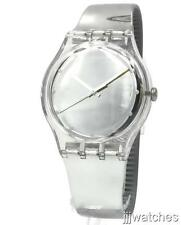 New Swiss Swatch Metallix Shiny Moon Silver Mirror Dial Watch 42mm SUOK121 $75