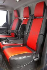 FORD TRANSIT CUSTOM VAN SEAT COVERS 2014 MADE TO MEASURE RED + BLACK LEATHERETTE