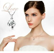 Women's/Girl's: Silver Necklace With 3D 'Twin Ring' Pendant & Cubic Zirconia Gem